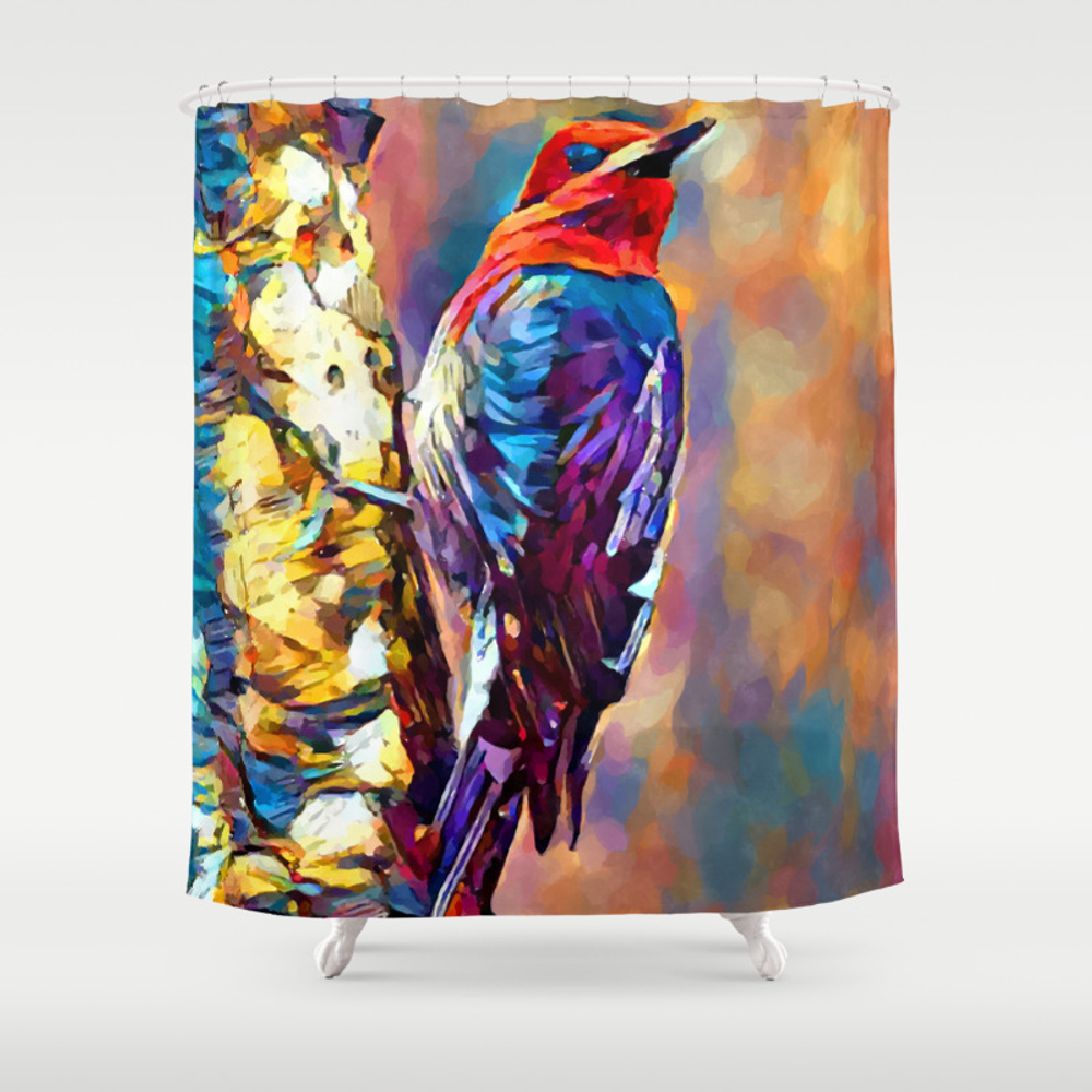 Red-breasted Sapsucker Shower Curtain by Shrenk (CTN9010163) photo