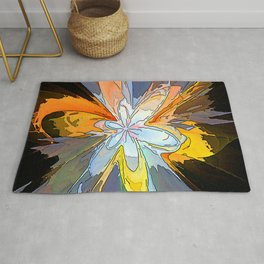 Gold Flower Abstract Rug