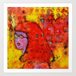 Red Hot Summer Girl Art Print