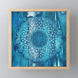 Teal Lotus Mandala Framed Mini Art Print