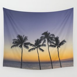 Palm Trees w/ Ombre Tropical Sunset - Hawaii Wall Tapestry