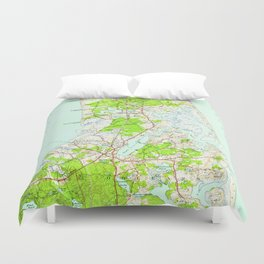 Vintage Map of Orleans Massachusetts (1946) Duvet Cover