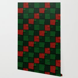 Red and green tiles with op art squares and corners Wallpaper