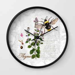 Cottage Style Thyme, Bumble Bee, Hummingbird, Herbal Botanical Illustration Wall Clock