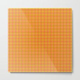 Pink On Yellow Grid Metal Print