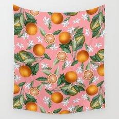 Lemon and Leaf Pattern V Wall Tapestry