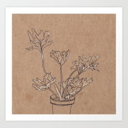 black and white philodendron Art Print