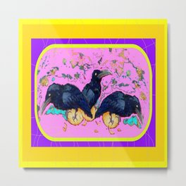 Three Baby Crows Playing Metal Print