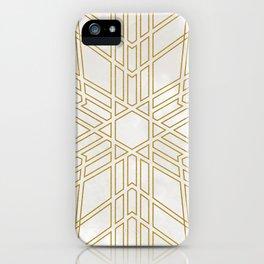 Golden stars on cream marble iPhone Case