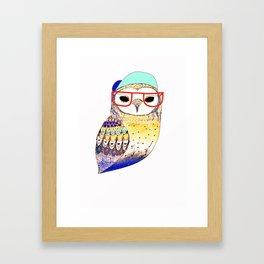 Hipster Owl, hipster, owl, owl art, illustration, print, children's, digital, Framed Art Print
