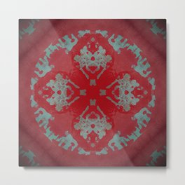 Red Ornament Abstract Design Metal Print