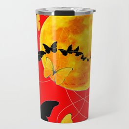 Butterfly Moon in Red Color Art Travel Mug