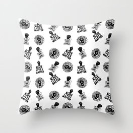 black lives matter protest seamless pattern Throw Pillow