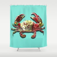 crab Shower Curtains featuring Lucky Crab by JonezuArt