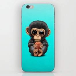 Cute Baby Chimp Playing With Basketball iPhone Skin
