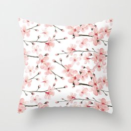 Cherry Blossom, blush pink watercolor on white Throw Pillow