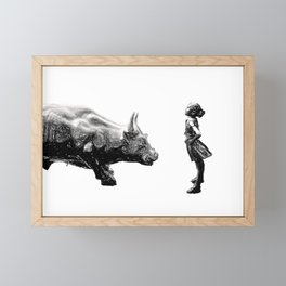 Feminist fearless girl charging wall street bull, Be Fearless Framed Mini Art Print