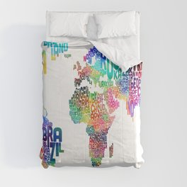 Typography Text Map of the World Comforters