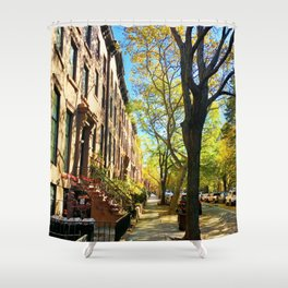 Cobble Hill Brooklyn New York in the Fall, Brownstones Shower Curtain
