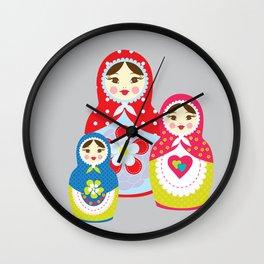 babushka , matryoshka , russian doll , nursery decor , children gift, birthday gift Wall Clock