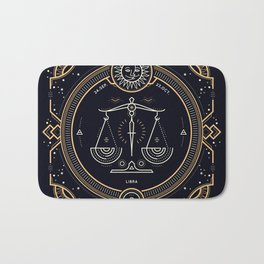 Libra Zodiac Golden White on Black Background Bath Mat