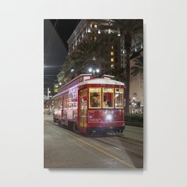New Orleans Canal Street Car at Night Metal Print