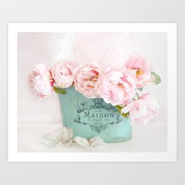 Shabby Chic Pink Paris Peonies  Art Print
