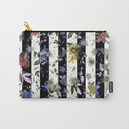 Vibrant Exotic Floral on Black and White Stripes Carry-All Pouch