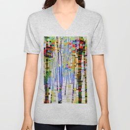 Winter Woods Abstract Unisex V-Neck