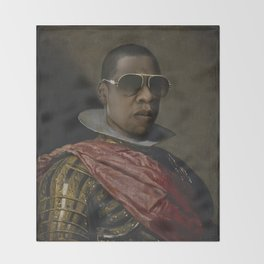 Portrait of Jay Z in Armor Throw Blanket