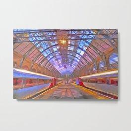 Kings Cross Station Platform Pop Art Metal Print