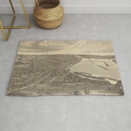Vintage Pictorial Map of Davenport IA (1875) Rug