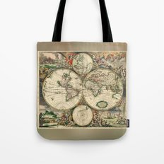 Old map of world hemispheres (enhanced) Tote Bag