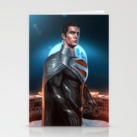 justice league Stationery Cards featuring Superman - Justice Lord by Charles Logan