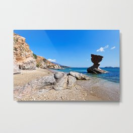 Rock formations at Liopessi near St. Peter in Andros, Greece Metal Print