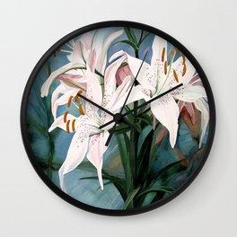 Watercolor Botanical Garden Flower White Lilies Wall Clock