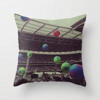 coldplay Throw Pillows featuring Coldplay at Wembley by Efua Boakye