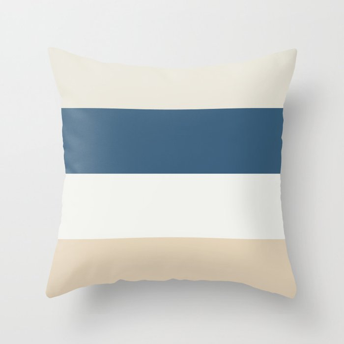 Blue, Linen White, Beige and Off White 4 Bold Stripes - 2020 Color of the Year Chinese Porcelain Throw Pillow