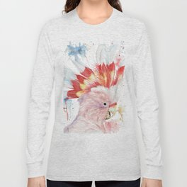 """Watercolor Painting of Picture """"Inca Cockatoo"""" Long Sleeve T-shirt"""