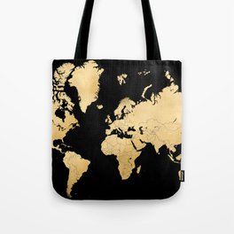 Sleek black and gold world map Tote Bag