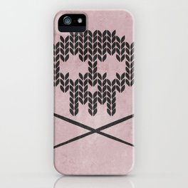 Knitted Skull / Knitting with Attitude (Black on antique rose colour) iPhone Case