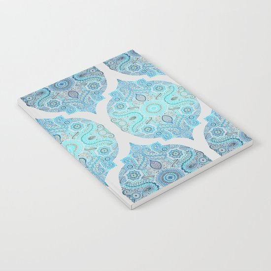 Through Ocean & Sky - turquoise & blue Moroccan pattern Notebook
