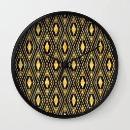 Gold 'Diamonds' Sophisticated Elegant Art Deco Pattern Wall Clock