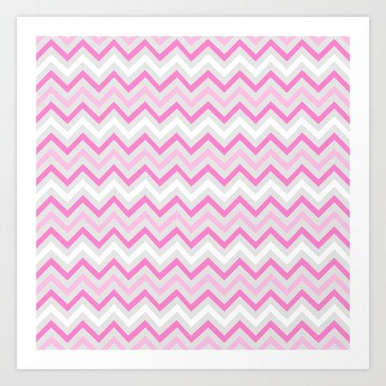 pink-grey Chevron Art Print