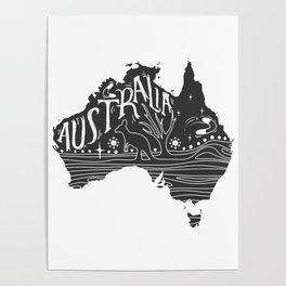 Australia map typo doodle Poster