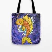 koi fish Tote Bags featuring Koi Fish by Spooky Dooky