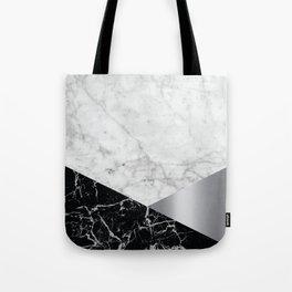 White Marble Black Granite & Silver #230 Tote Bag