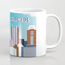 Columbus, Ohio - Skyline Illustration by Loose Petals Coffee Mug