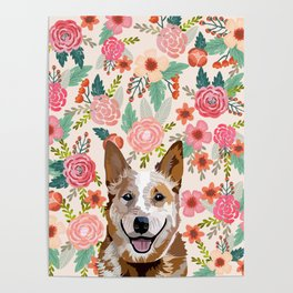 Australian Cattle Dog red heeler floral pet portrait art print and dog gifts Poster
