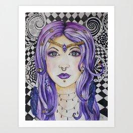 Fantasy gothic watercolor art Art Print